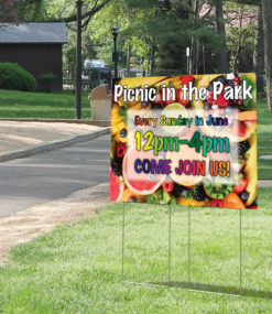 "30"" x 24"" corrugated plastic step stake yard sign at park"